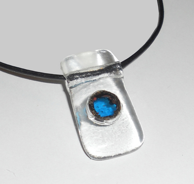 Fused Glass Tent Pole With Colored Glass Pendant