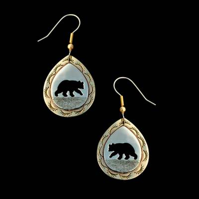 Bear Earring Silver And Brass