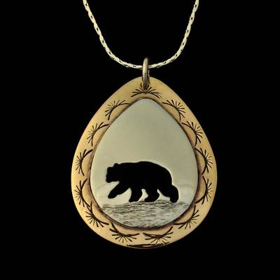 Bear Pendant Necklace Silver And Brass