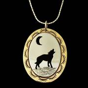Howling Wolf Pendant Oval Necklace