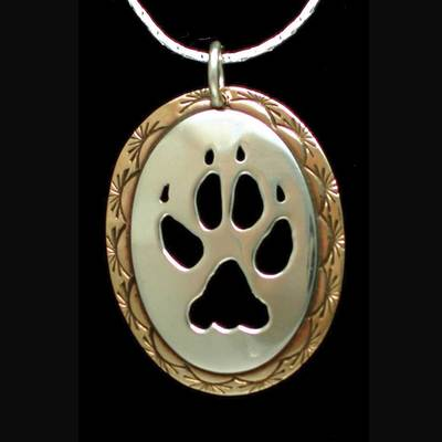 Wolf Paw Necklace Silver And Brass