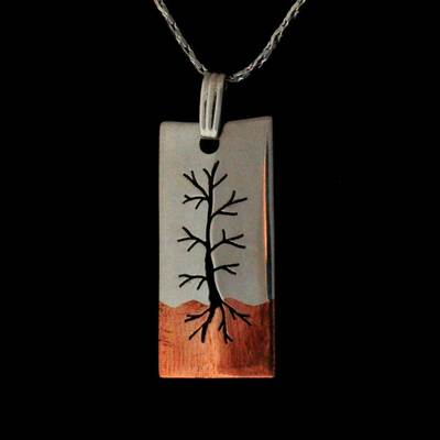 Copper And Silver Tree Pendant Necklace