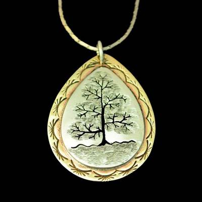 Tree Of Life Silver Brass Pendant