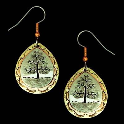 Tree Of Life Silver Brass Earrings