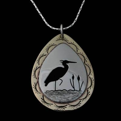 Cutout Heron Necklace Silver And Brass