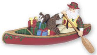 Santa Canoeing W/Gifts