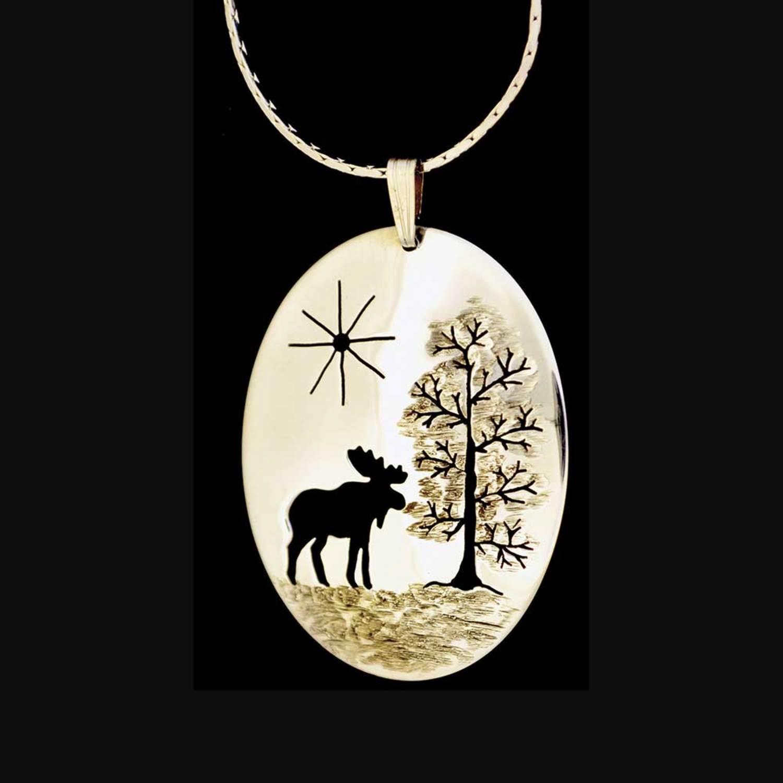 Moose pendant necklace silver by bear paw jewelry boundary waters moose pendant necklace silver item bpj18 aloadofball Images