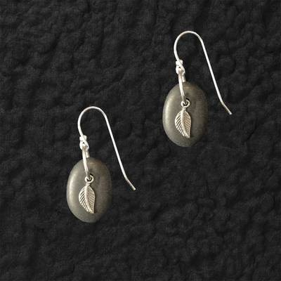 Lake Stone Leaf Earrings