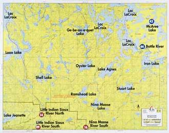 Fisher Maps F- 16 : Loon Lake, Lac La Croix, Nina Lake, Moose