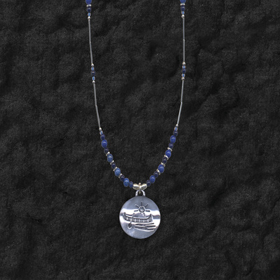 Canoe Pendant On Lapis