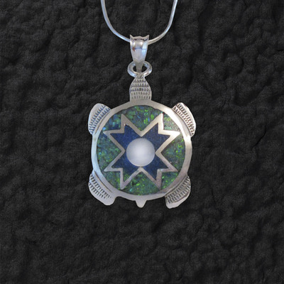 Star Turtle Pendant With Lapis