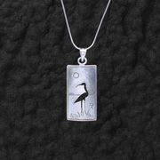 Sterling Heron on Chain Necklace