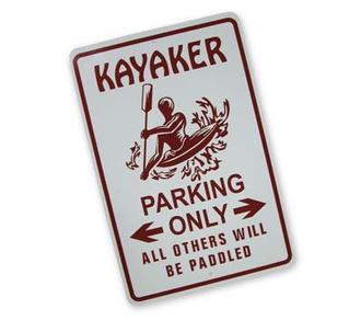 Kayaker Parking Sign