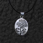 Oval Tree Pendant Necklace
