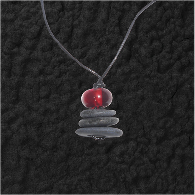 Stacked Stones Withe Bead Pendant