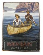 Boundary Waters Lake Paddlers in Birch Bark Canoe Sign