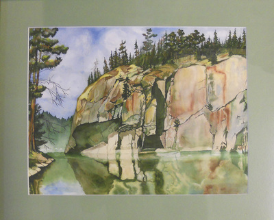 "Watercolor Print Of "" Crooked Lake A View Of Painted Rock """