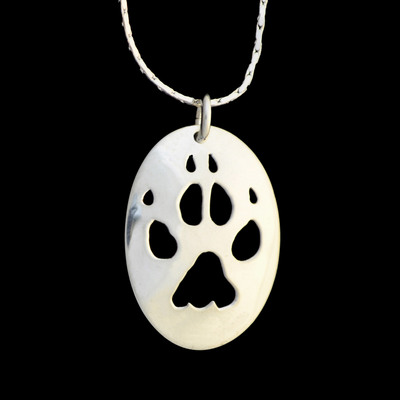 Wolf Paw Silver Pendant