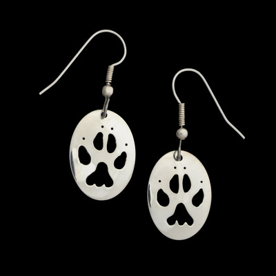 Wolf Paw Silver Earrings