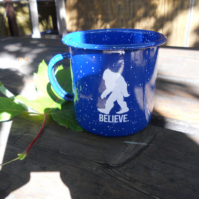 Blue Bigfoot Enamel Mug
