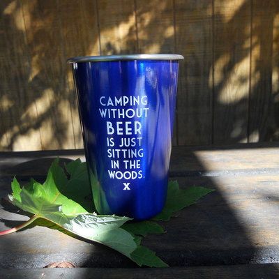 Blue Stainless Beer Cup