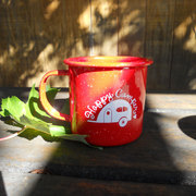 Happy Camper Red Enamel Mug