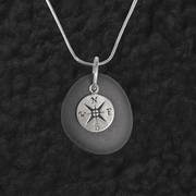 Lake Superior Stone Pendant with Compass Rose
