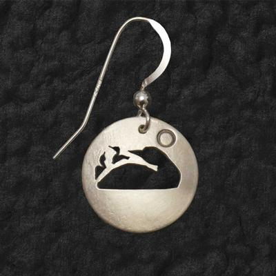 Loon With Chicks Shadow Earrings
