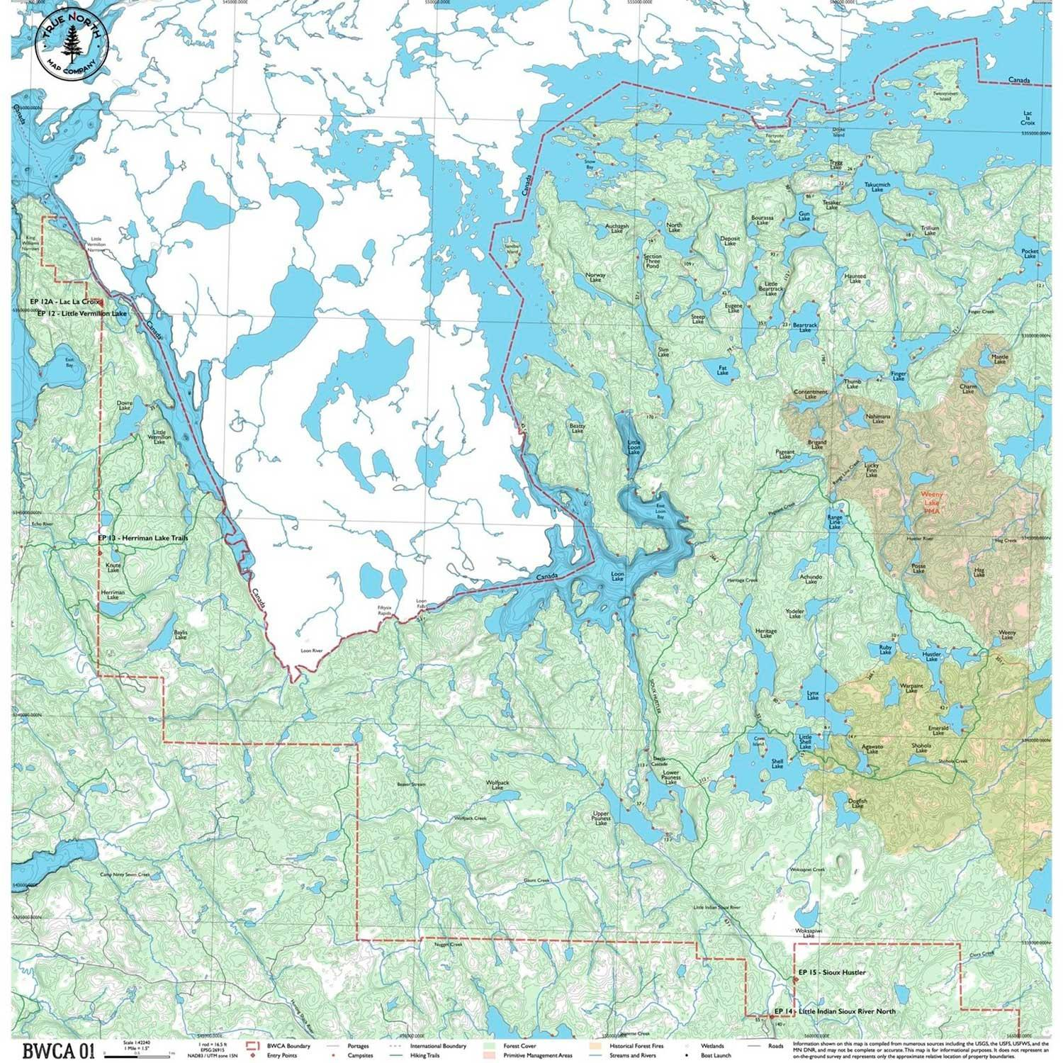 Cloth Map 01 By True North Maps | Boundary Waters Catalog