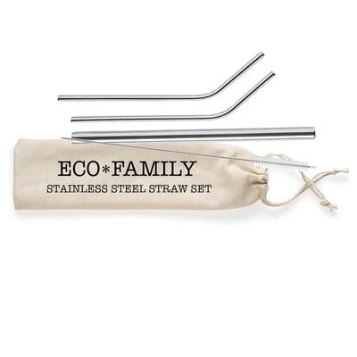 Shell Creek Stainless Steel Straw Set With Canvas Pouch Eco Family