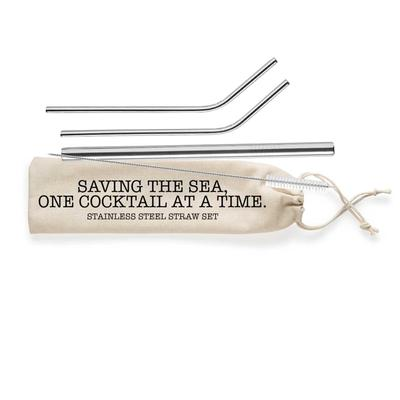 Shell Creek Stainless Steel Straw Set With Canvas Pouch Saving The Sea One Cocktail At A Time