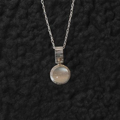 Birch Bale Engraved With Round Moonstone Pendant