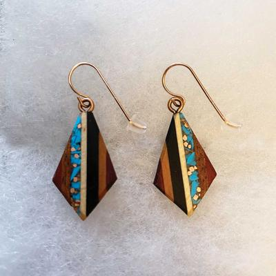 Recycled Copper and Turquoise Teardrop Earrings
