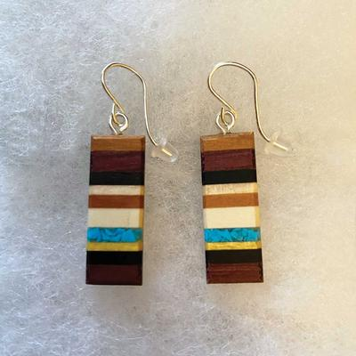 Recycled Wood And Turquoise Rectangle Earrings