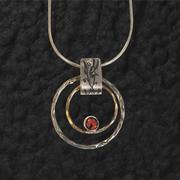 Double Ringed Garnet Pendant