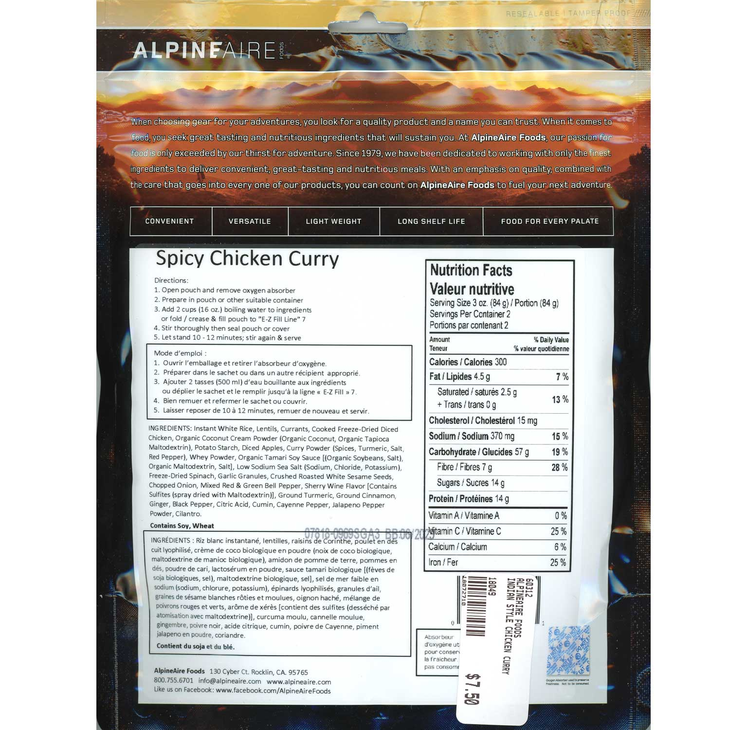 Alpineaire Spicy Chicken Curry | Boundary Waters Catalog