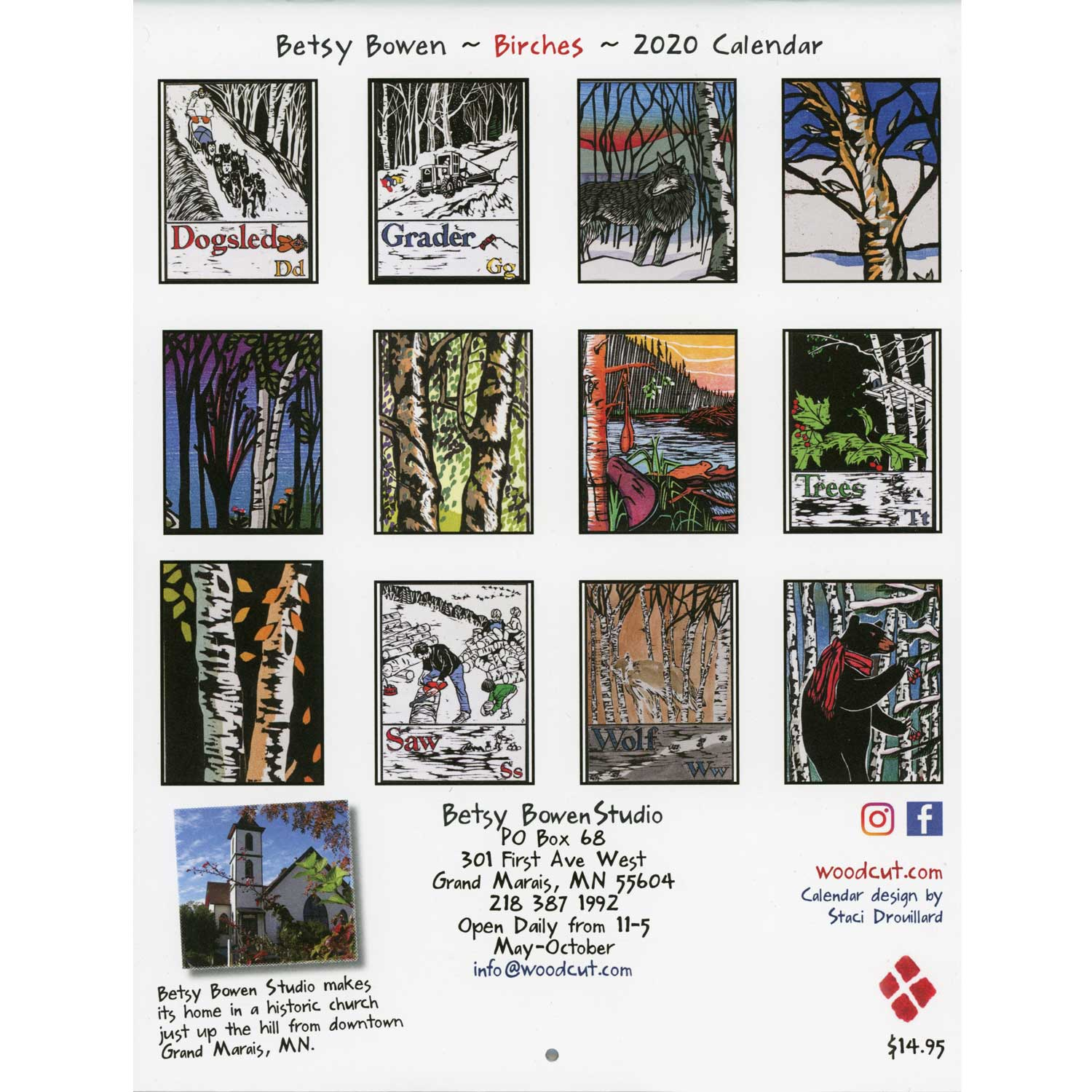 Birches 2020 Calendar By Betsy Bowen | Boundary Waters Catalog